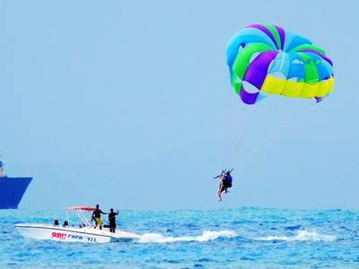 塞班岛6天游_塞班军舰岛水上运动-拖伞