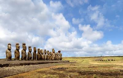 美洲旅游景点_智利复活节岛-Tongariki石雕像群