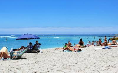 美国夏威夷6天游_美国夏威夷威基基海滩-享受日光浴