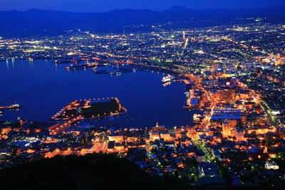 日本7天游景点_日本函馆山百万夜景
