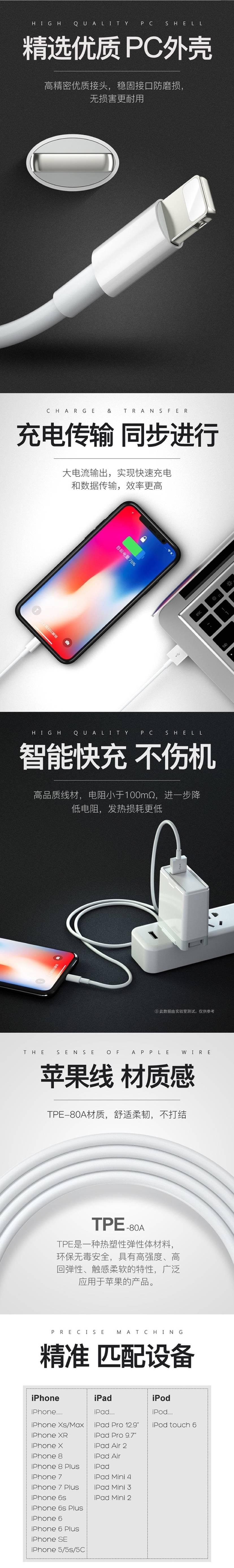【全国包邮】19.9元抢苹果数据线5条(规格:1米),快充50%,不弹窗,一根能用好多年!