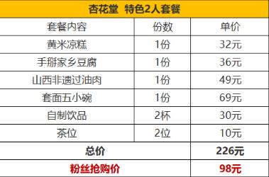 【深圳3店通用】无低消,98元抢原价226元杏花堂双人特色套餐,通用无加价!