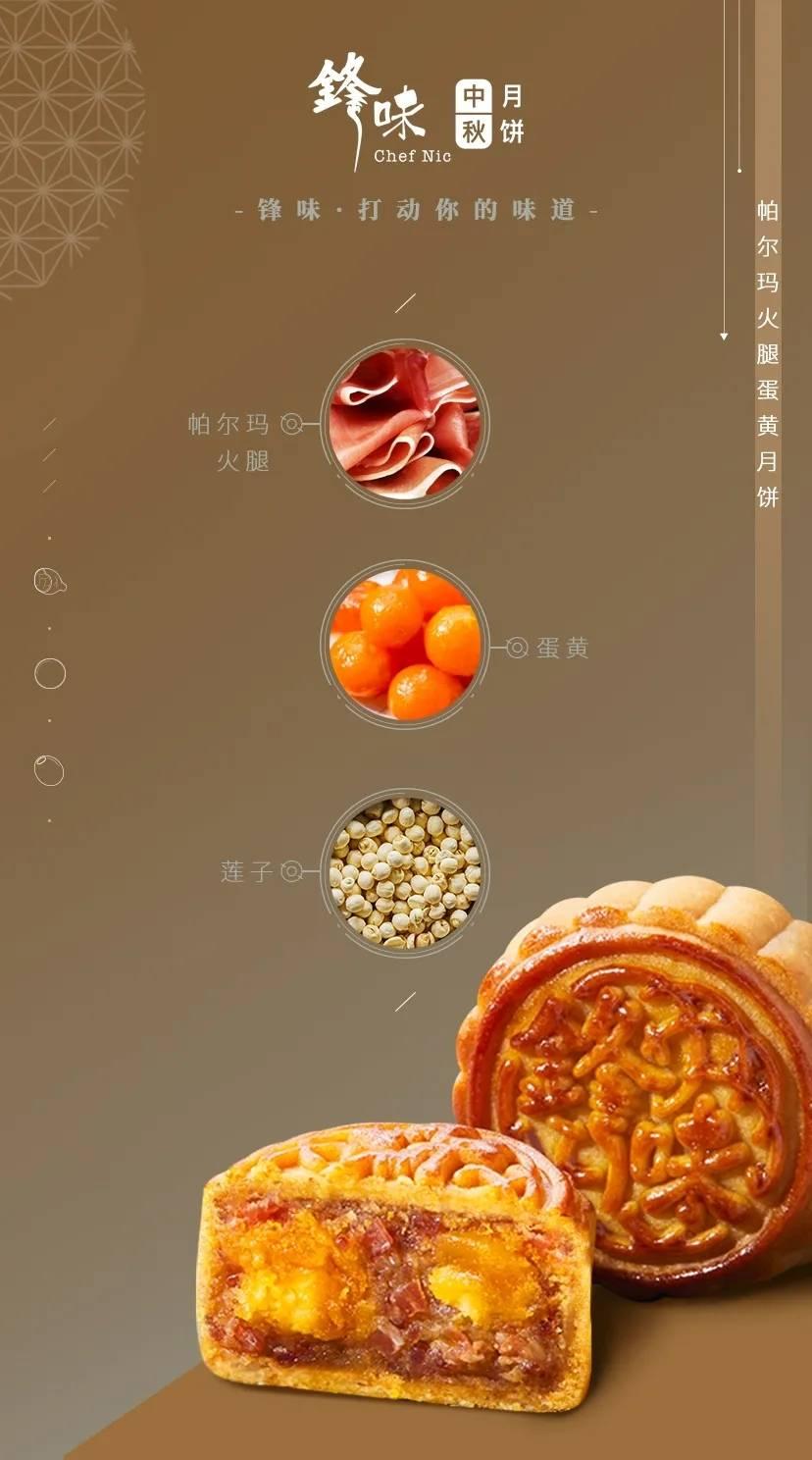 【全国包邮】锋味四粒装月饼,门市价198现仅售168元,2粒 帕尔玛火腿蛋黄月饼,2粒 陈皮豆沙蛋黄月饼